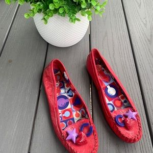 Coach Red Moccasin Style Flat